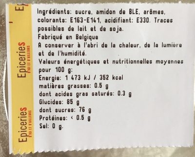 Assortiment de loukoums - Ingredients