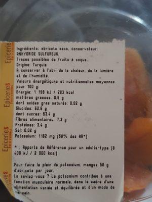 Abricot sec - Ingrédients