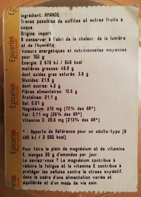 Amandes décortiquées (variété non pareil) - Informations nutritionnelles