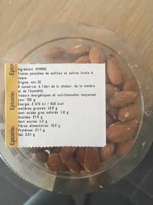 Amandes décortiquées - Voedingswaarden - fr