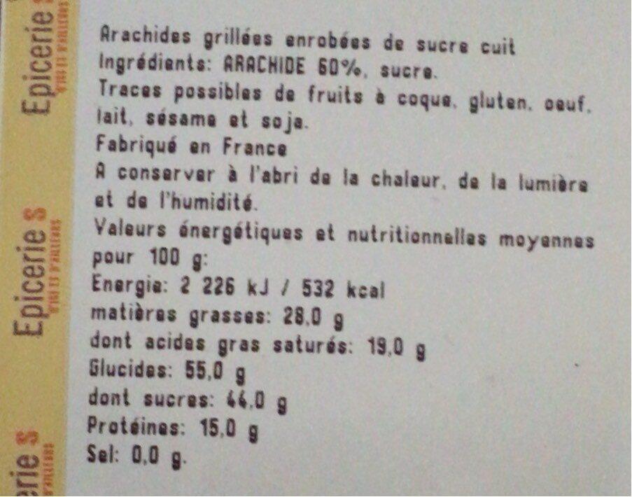 Arachides grillées enrobées de sucre cuit - Nutrition facts - fr