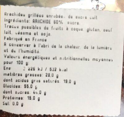 Arachides grillées enrobées de sucre cuit - Nutrition facts