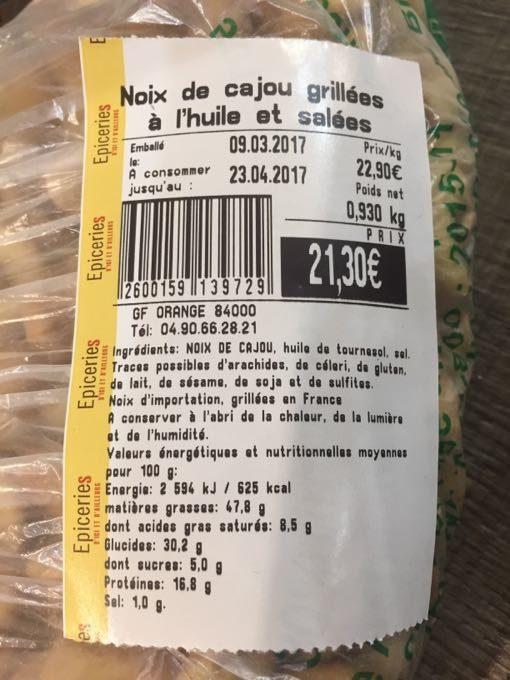 Noix de Cajou Grillées à l'Huile et Salées - Product - fr