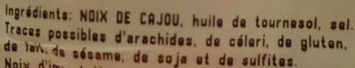 Noix de Cajou Grillées à l'Huile et Salées - Ingredients - fr