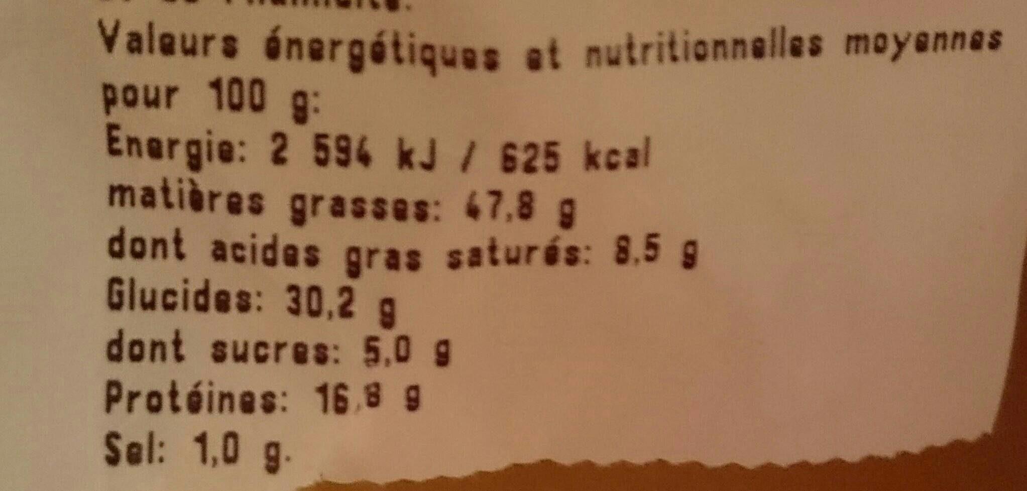 Noix de Cajou Grillées à l'Huile et Salées - Nutrition facts - fr
