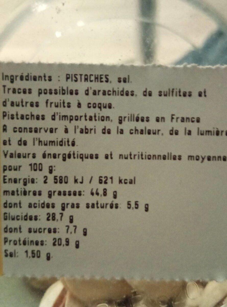 Pistaches grillées à sec et salées - Informations nutritionnelles - fr