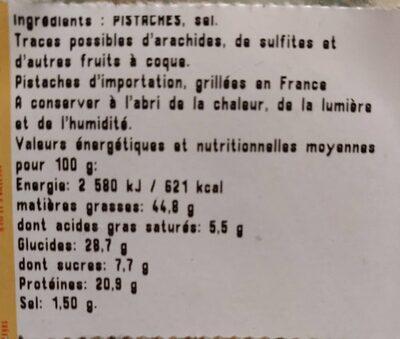 Pistaches grillées à sec et salées - Ingrédients - fr