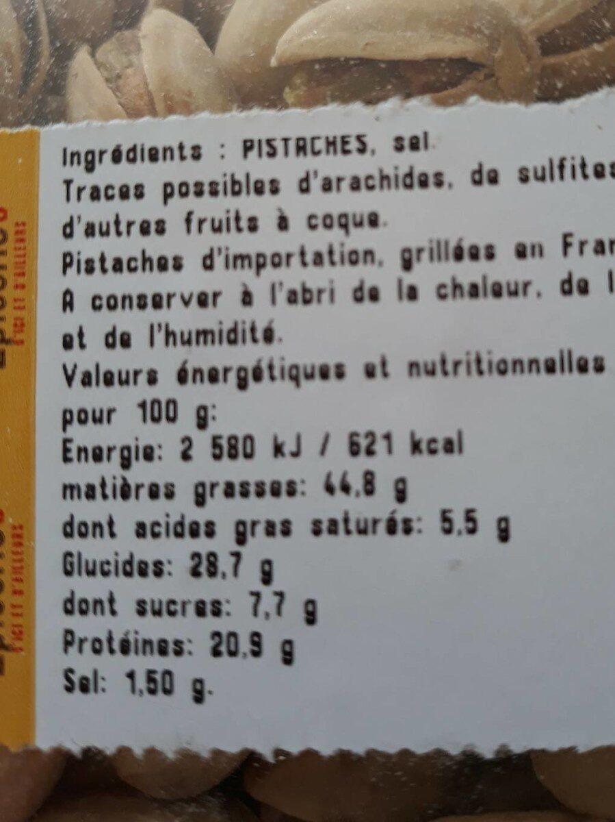 Pistaches grillées à sec et salees - Informations nutritionnelles - fr