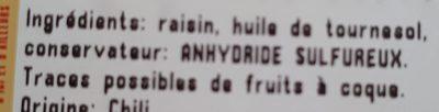 Raisins secs golden jumbo - Ingrediënten - fr