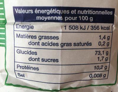 Farine de blé semi complete - Nutrition facts - fr