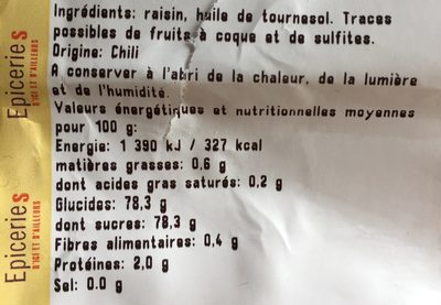 Raisins secs Thompson Jumbo - Informations nutritionnelles