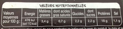 brochettes de poulet curry ananas - Nutrition facts - fr