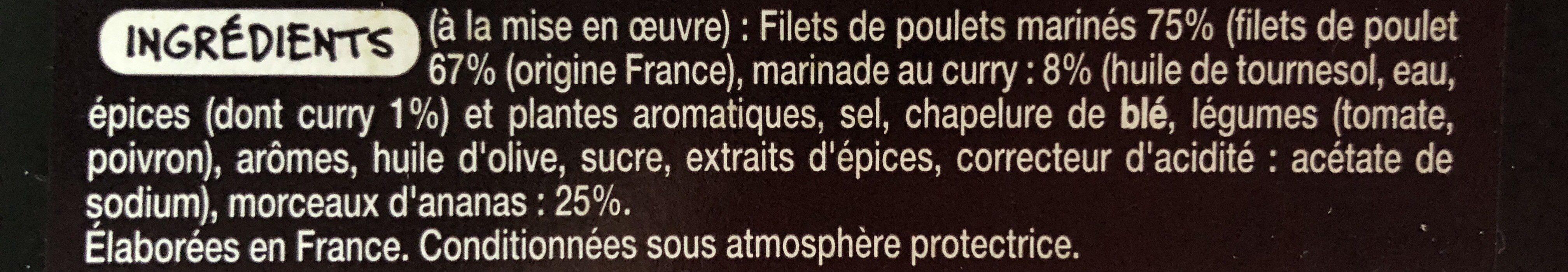 Brochettes de poulet curry ananas - Ingrédients - fr