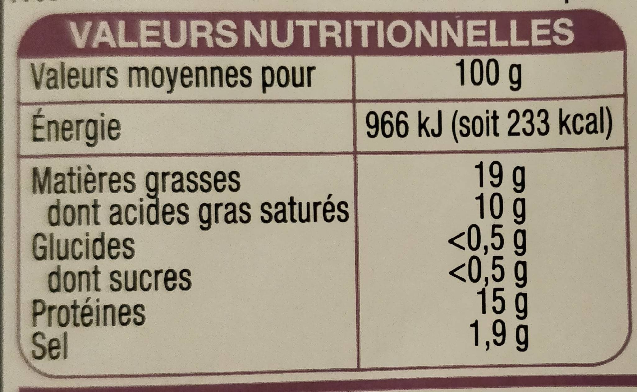 Véritable andouille de guéméné tranchée - Voedingswaarden