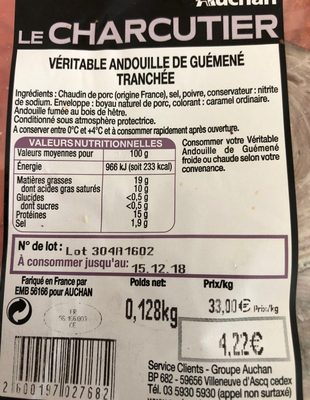 Veritable andouille de Guemene tranchee - Ingredients - fr