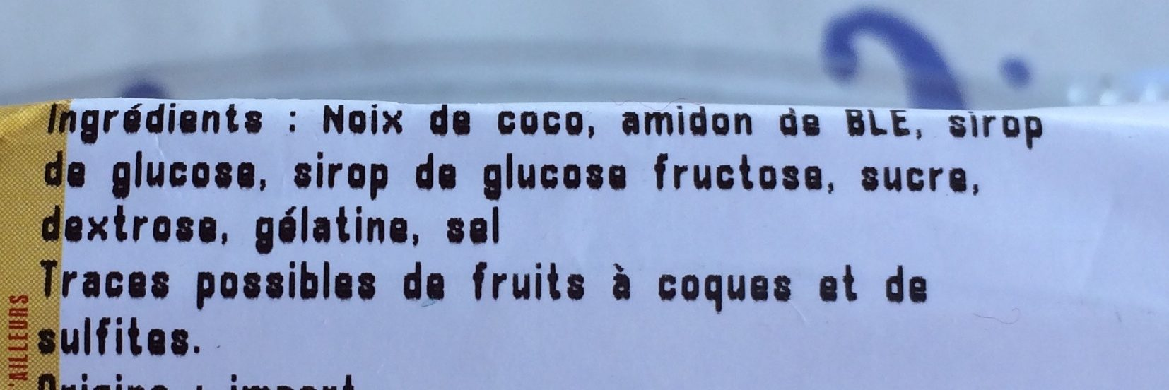 Cube de Coco - Ingredients - fr