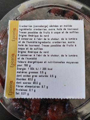 Cranberries séchées en moitiés - Informations nutritionnelles