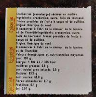 Cranberries séchées en moitie - Ingrediënten
