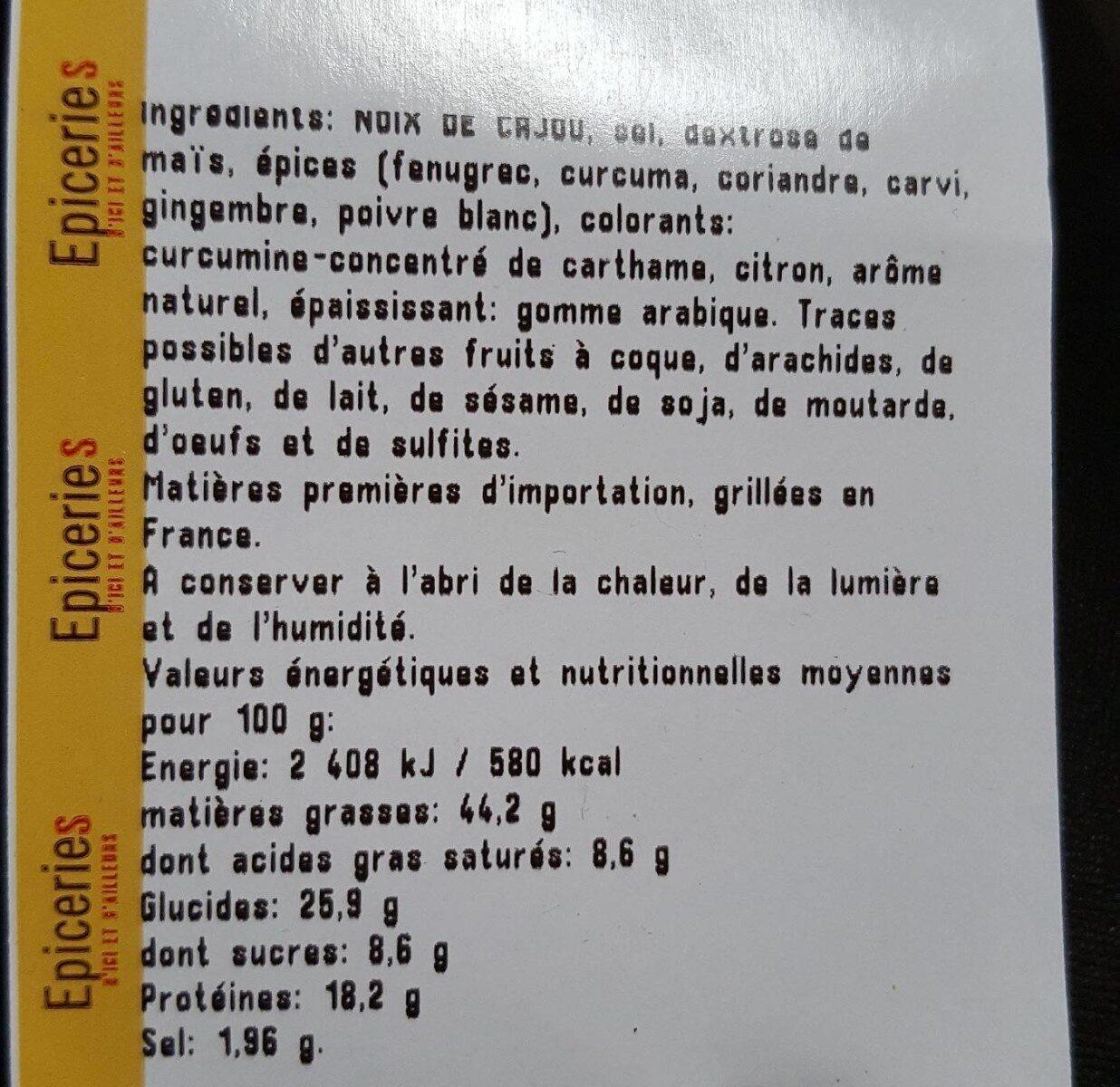 Noix de cajou grillées aromatisées curry - Ingrediënten