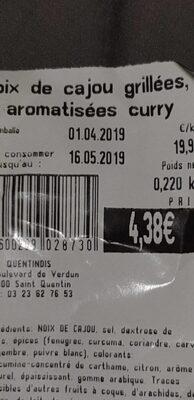 Noix de cajou grillées aromatisées curry - Product - fr