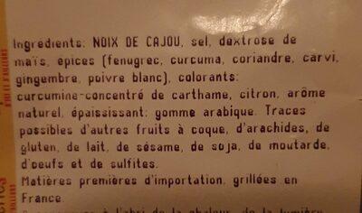 Noix de cajou grillées aromatisées curry - Ingrediënten - fr