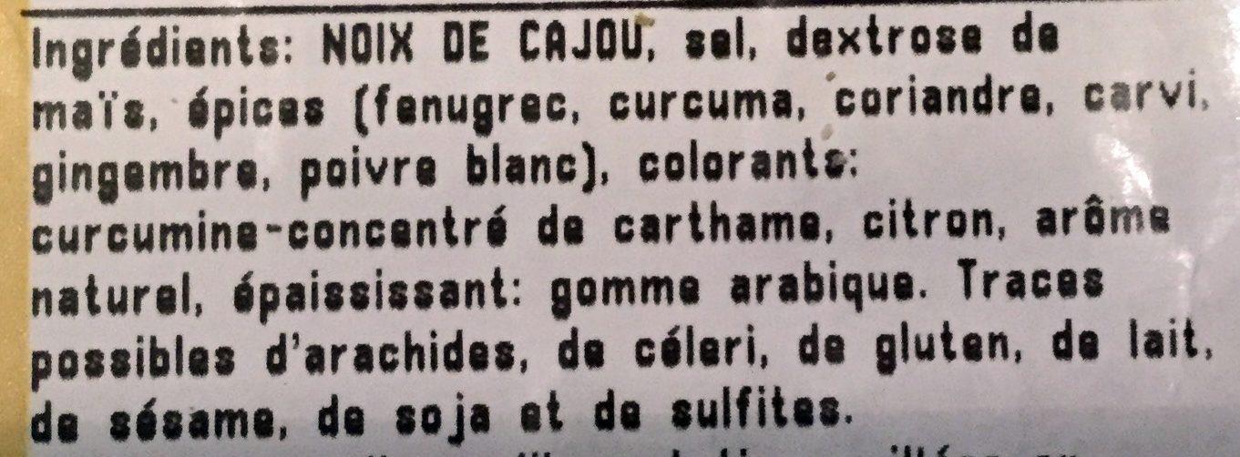 Noix de Cajou Grillées Aromatisées au Curry - Ingredients - fr
