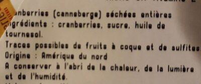 Cranberries séchées entières - Ingrediënten