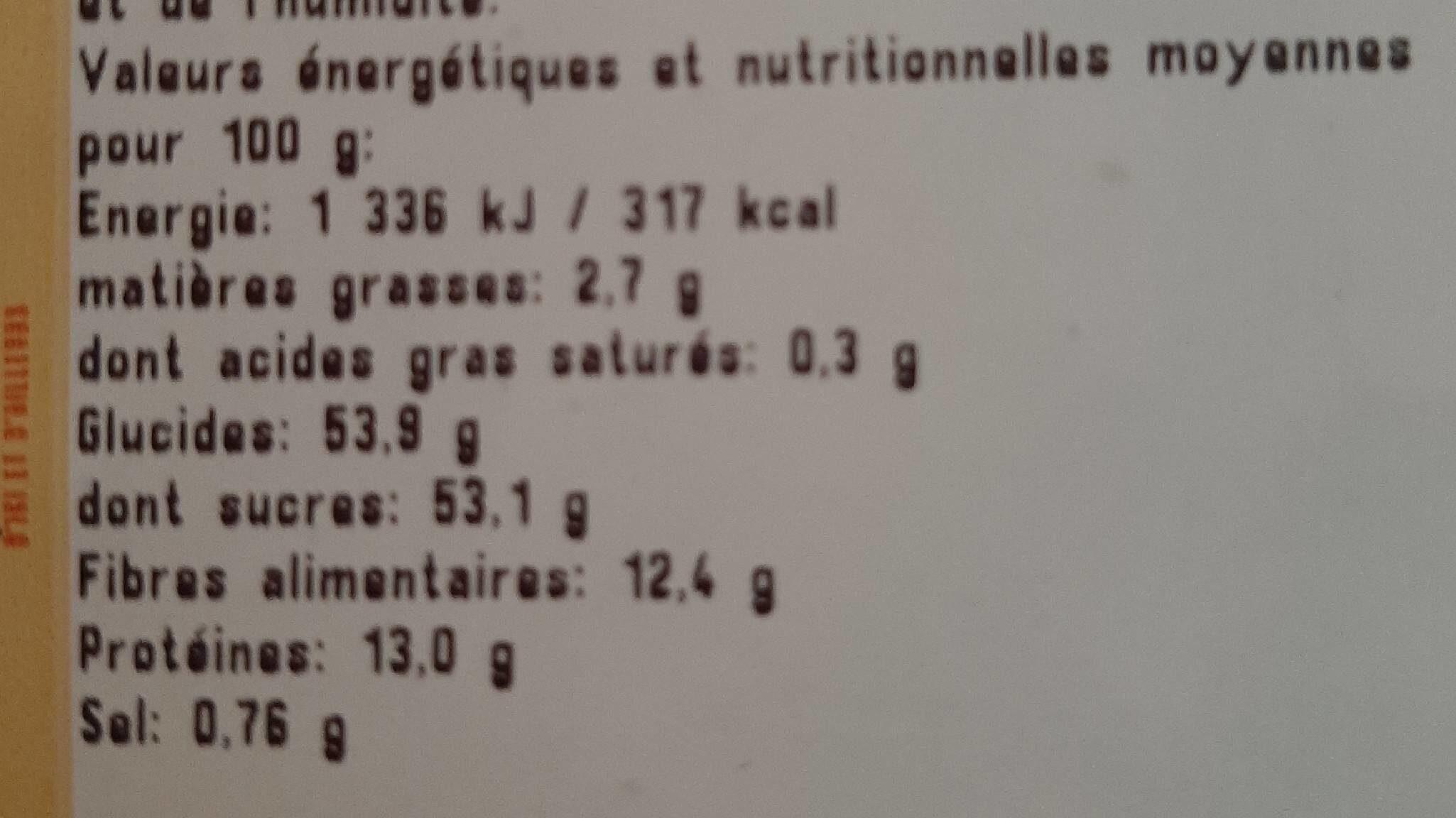 Bai de goji seches - Informations nutritionnelles - fr