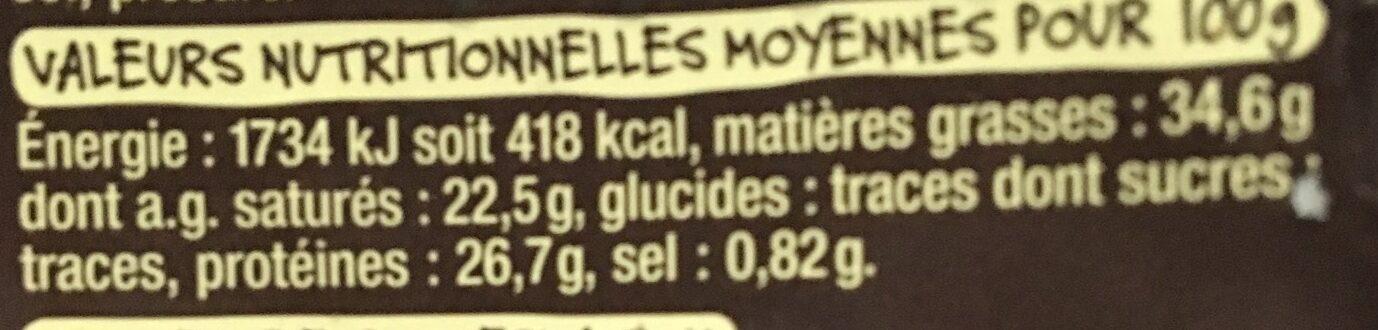 Comté 12 mois d'affinage minimum - Informations nutritionnelles - fr