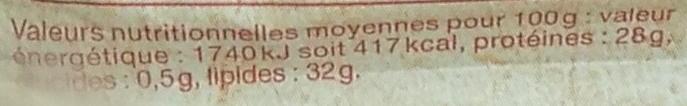 Comté AOP (32 % MG) Au Lait Cru d'Hiver - Informations nutritionnelles - fr