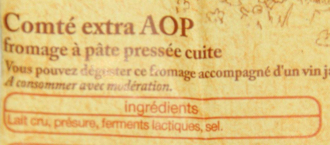 Comté AOP Au Lait Cru d'Été (32 % MG) - Ingrediënten