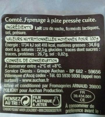 Comté 12 mois d'affinage minimum - Ingrédients - fr