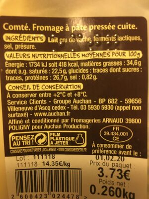 Comté - Nutrition facts - fr