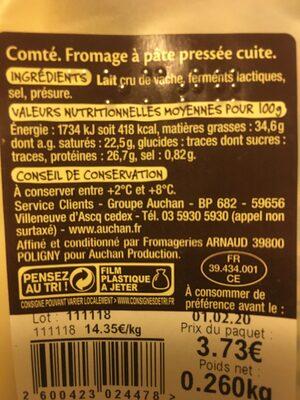 Comté - Nutrition facts