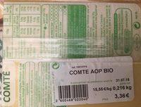 Comte bio - Ingrédients - fr