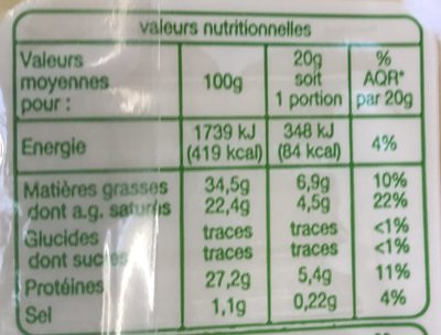 Comte bio - Nutrition facts