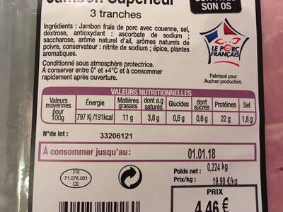 Jambon supérieur - Ingrediënten - fr