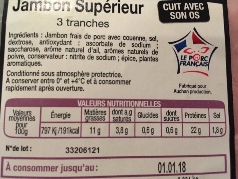 Jambon supérieur - Voedingswaarden - fr