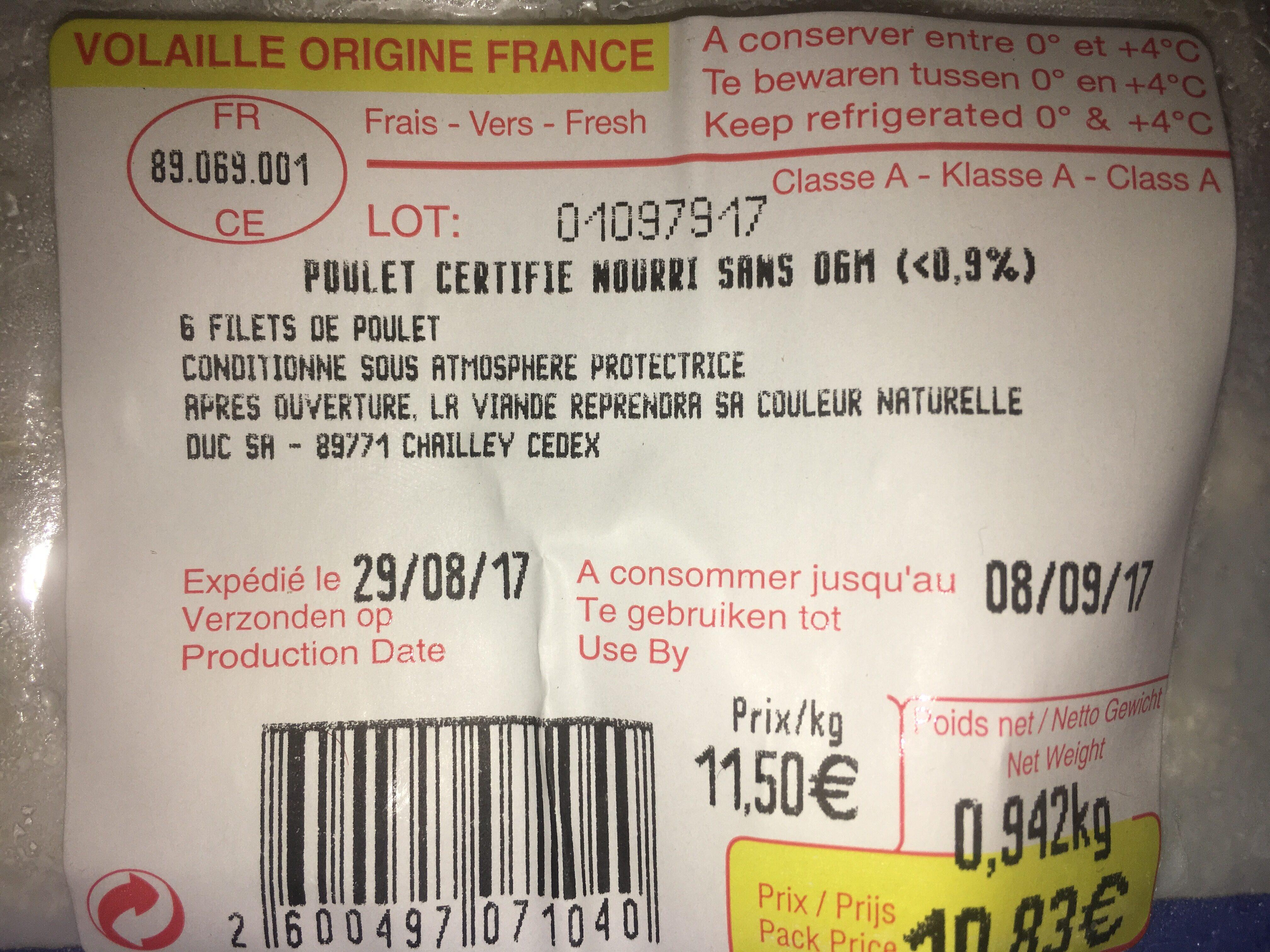 6 filets Poulet - Ingrédients