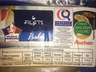 6 filets Poulet - Informations nutritionnelles