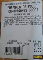 Empanada de pollo y champiñones - Ingredientes - es