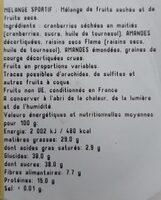 Melange sportif - Informations nutritionnelles - fr