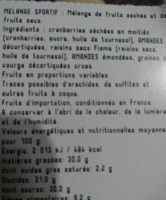 Mélange sportif - Ingrediënten