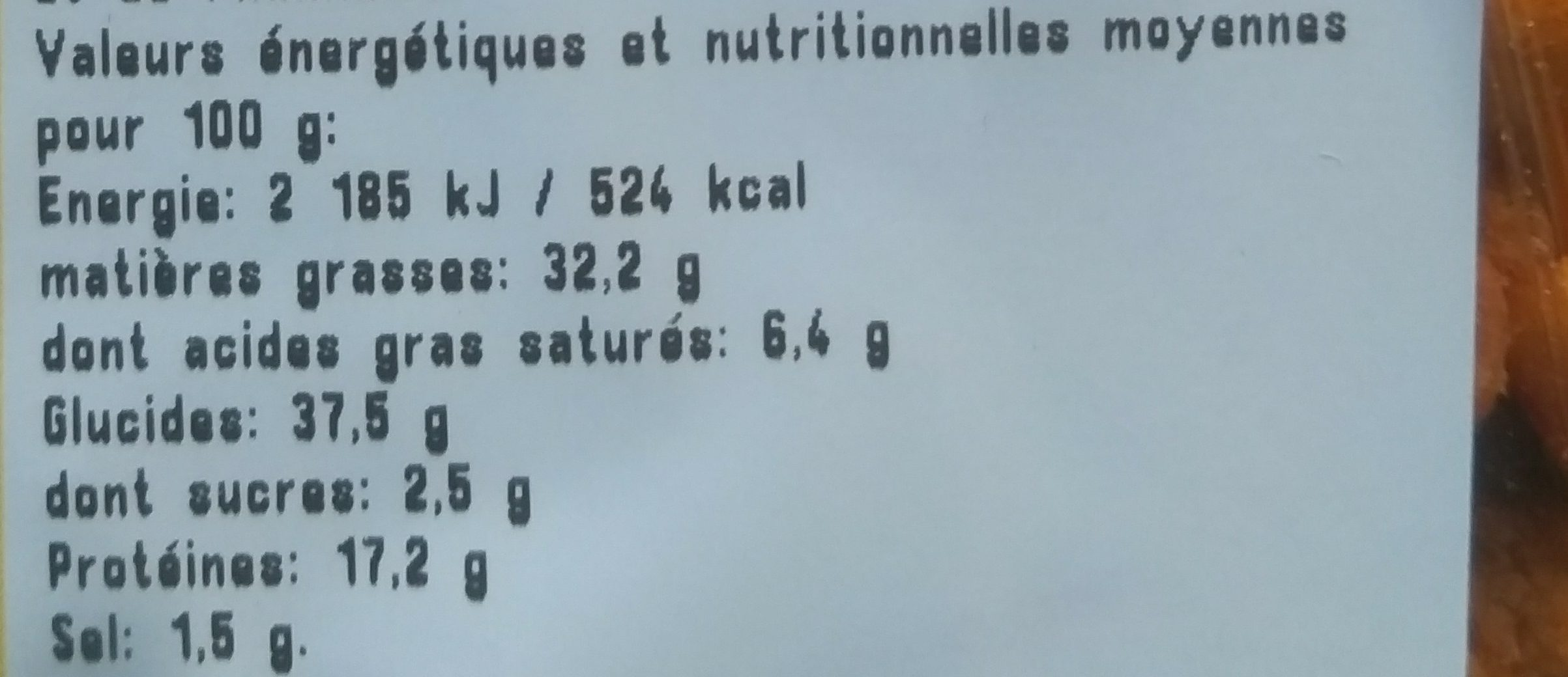 Melange Mexicain - Informations nutritionnelles