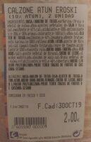 Calzone atún - Información nutricional