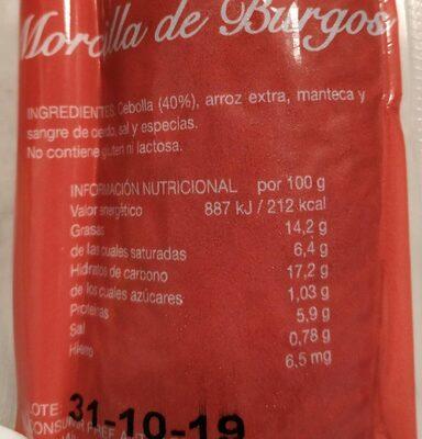 Morcilla Ríos - Nutrition facts