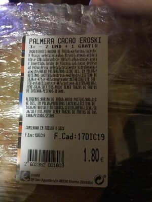 Palmeras - Informació nutricional - es
