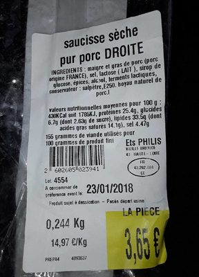 La Droite Saucisse Sèche - Voedingswaarden - fr