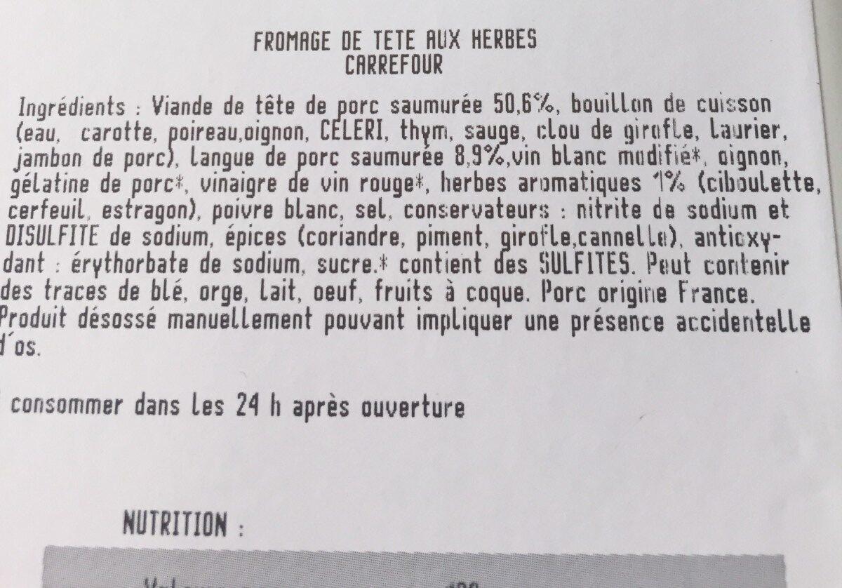 Fromage de tête aux herbes - Ingrédients