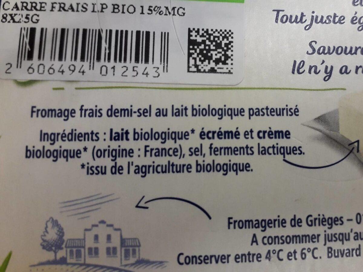 Carre frais bio - Ingredients